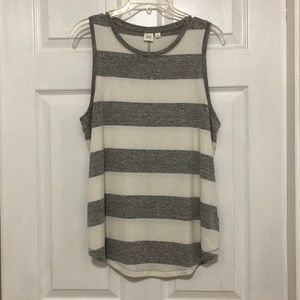 Gap - grey and white striped tank- size large